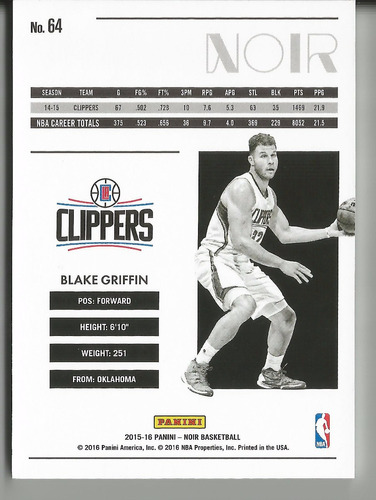 2015-16 panini noir blake griffin base 93/99 clippers