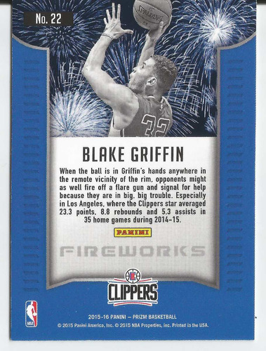2015-16 panini prizm fireworks #22 blake griffin clippers