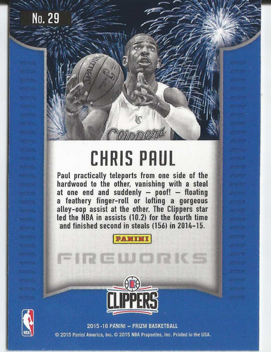 2015-16 panini prizm fireworks #29 chris paul clippers