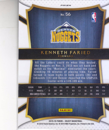 2015-16 panini select prizms #56 kenneth faried nuggets