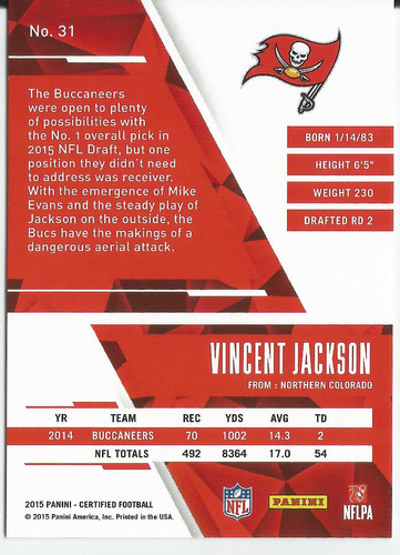 2015 panini certified mirror red /99 vincent jackson buccs