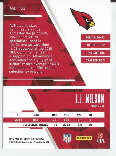 2015 panini certified rc /999 j. j. nelson wr cardinals