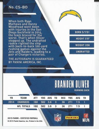2015 panini certified silver branden oliver autografo /150