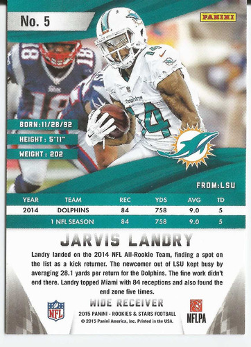 2015 rookies and stars red jarvis landry /299 rb dolphins