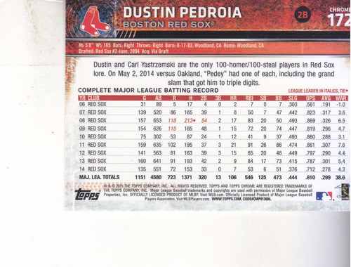 2015 topps chrome #172 dustin pedroia refractor 2b red sox
