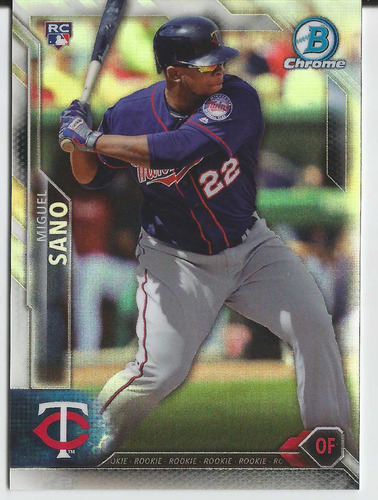 2016 bowman chrome rc #27 miguel sano refractor /499 twins