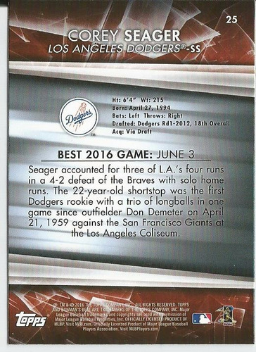 2016 bowman's best #25 rc corey seager ss dodgers