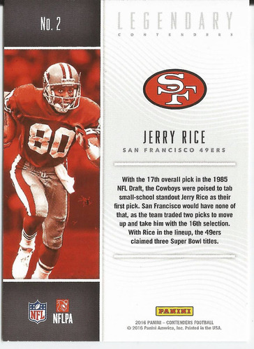 2016 contenders legendary contenders jerry rice wr 49ers
