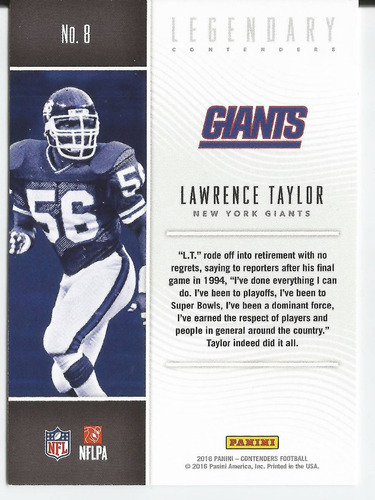 2016 contenders legendary contenders lawrence taylor giants