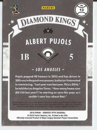 2016 donruss optic diamond kings holo albert pujols angels