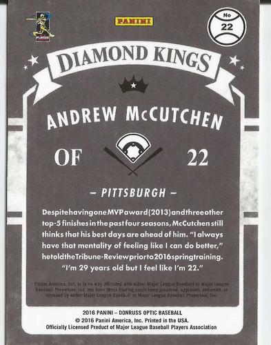 2016 donruss optic diamond kings holo andrew mccutchen pirat