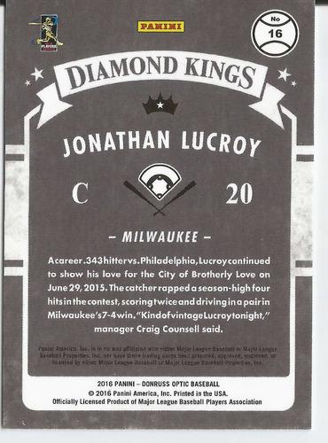 2016 donruss optic diamond kings holo jonathan lucroy brewer