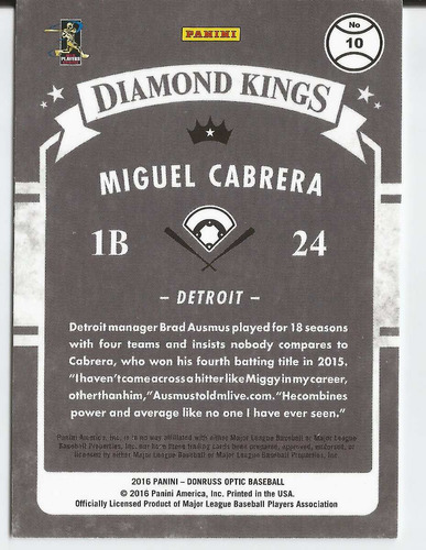 2016 donruss optic diamond kings holo miguel cabrera tigers