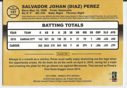 2016 panini donruss optic #147 salvador perez royals