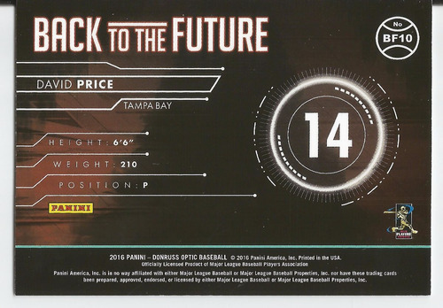 2016 panini donruss optic back to the future david price p