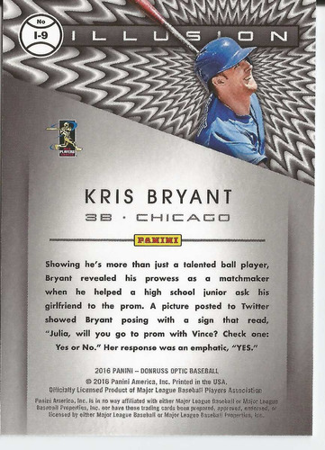 2016 panini donruss optic illusion kris bryant 3b cubs