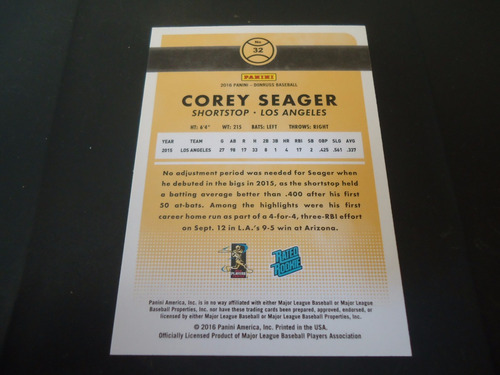 2016 panini donruss rated rookie #32 corey seager dodgers