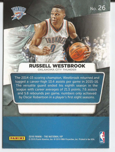 2016 panini the national vip russell westbrook thunder