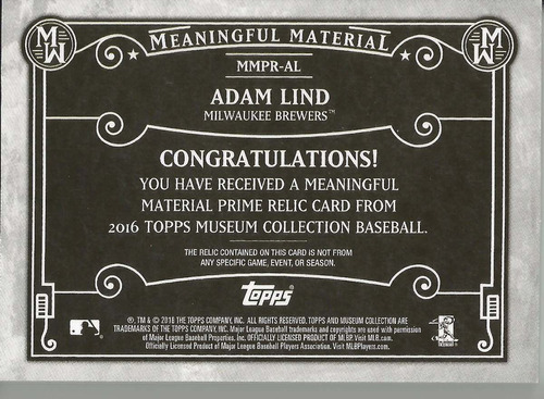 2016 topps museum coll adam lind meaningful jersey patch /10