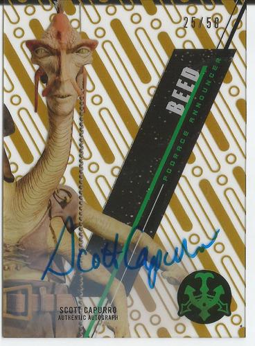 2016 topps star wars scott capurro beed gold autografo /50