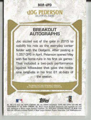 2016 topps tier one joc pederson breakout autografo /199 la