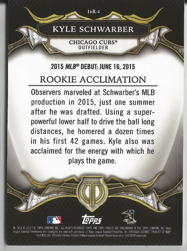 2016 topps tribute rc #16r-4 kyle schwarber sp of cubs