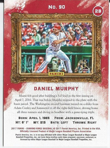 2017 diamond kings daniel murphy artist's proof blue /25