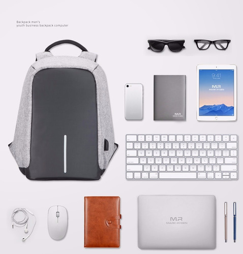 2017 mochila antirrobo portalaptop con cargador usb elegante