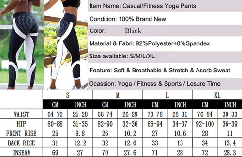 2018 mujeres hip push up pantalones de yoga... (black, xl)