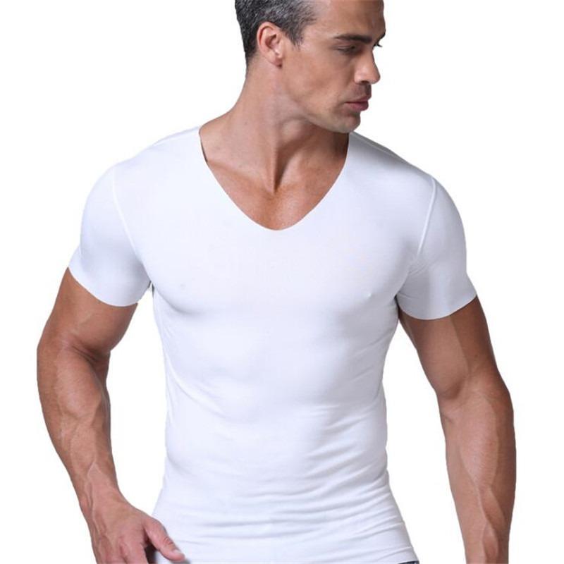 Marca Nueva 2018 Cuello En Hombres Verano V Sexy Camiseta De H9IW2ED