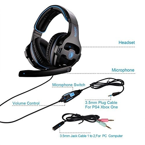 [2018 nuevo actualización] sades sa810 gaming auriculares s