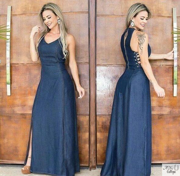 Fotos de vestido jeans longo