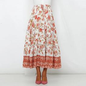 8f8a7a67a 2019 Boho Floral Impresión Largo Falda Mujeres Encaje Arrib