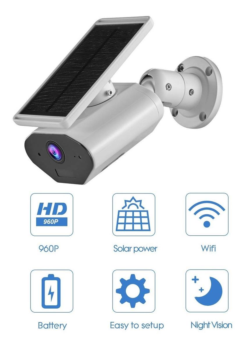 C/ámara de Seguridad WiFi 1080p HD con Audio Bidireccional//Visi/ón Nocturna//Sensor de Movimiento PIR//Ranura para Tarjeta SD CTVISON C/ámara de Seguridad con Alimentaci/ón Solar Inal/ámbrica al Aire Libre