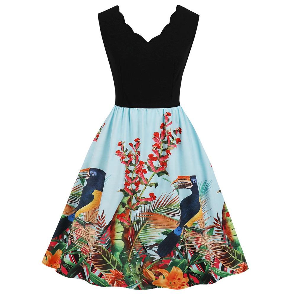8ae151e8d 2019 vestidos casuales dama con dibujo vistoso fiesta chaval. Cargando zoom.