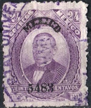 2041 clásico juárez scott#138 méxico #5483  24c usado 1883