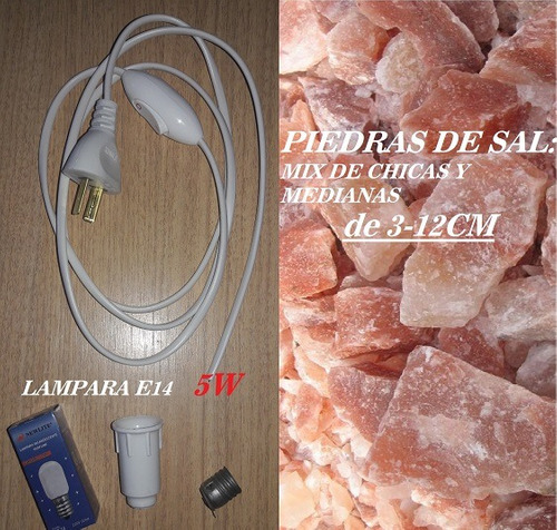 20kg piedras d sal ch/med y 15 kits cables  lamparas sal