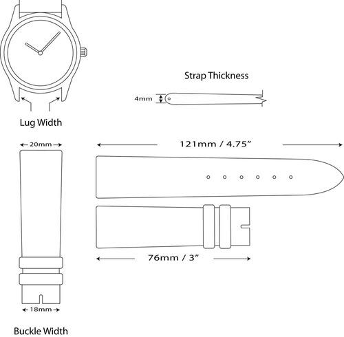 20mm banda de reloj de repuesto - lona de nylon con ajuste d