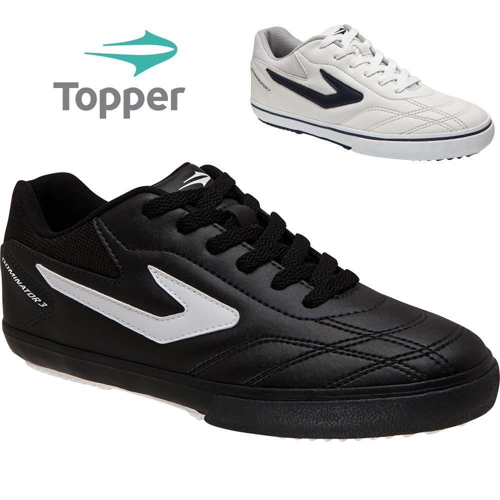 ... chuteira tênis futsal topper dominator preto   branco. Carregando zoom. 63a3b31aa6bf0