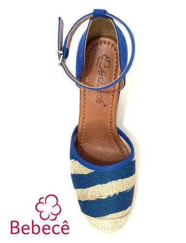 20%off sandália anabela bebecê azul marinheira 9111-425