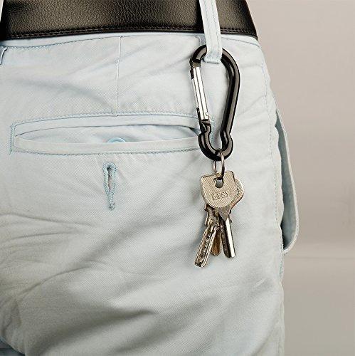 20pcs mini llaveros mosqueton clips, pequeno aluminio negro