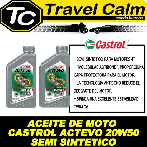 20w50 castrol actevo pack 2l aceite moto 4t semi sintético