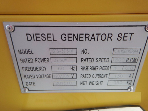 21) generador de electricidad 37.5 kw/50 kva equipo nuevo