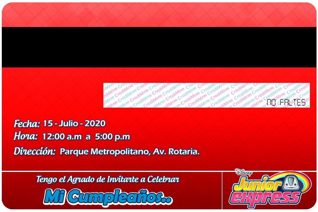 21 Invitaciones Tipo Tarjeta De Credito Junior Express