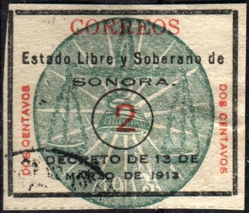 2103 revolución scott#342 sonora ontavos ! x 1 2c usado 1913