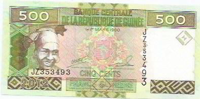 211 - cédula estrangeira-guinee-cinq cents francs guineens