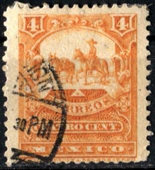 2114 mulita 4° e scott #282b naranja rojizo 4c usado 1898