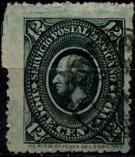 2144 clásico hidalgo medallón placa#2 azulado 12c usado 1884