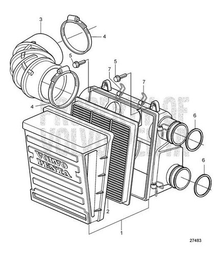 21702999 elemento filtro ar motor volvo penta d4 d6 d9 d11