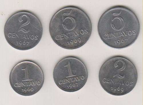 218 - 1, 2 e 5 centavos 1967 e 1969 coleção o lote r$ 18,00